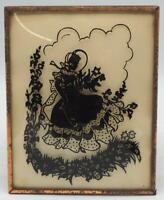 Vintage Reverse Painting Silhouette Victorian Woman Bubble Glass 4x6