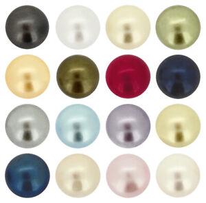 Genuine PRECIOSA Round Nacre Cabochon Pearls Flat Backs * Many Colors & Sizes