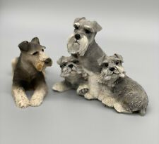 More details for hand painted vintage schnauzer dog figurines ornament display collectibles