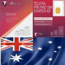 NEW, Telstra Australian, prepaid SIM Std, micro or nano size. AUSTRALIA.