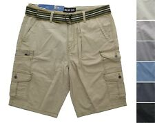 Iron Co. Belted Cargo Stretch Short, Lightweight, 8-Pocket Casual, 98% Cotton
