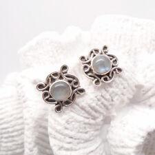 Labradorit rund Nostalgie Design Ohrringe Ohrstecker Stecker 925 Sterling Silber