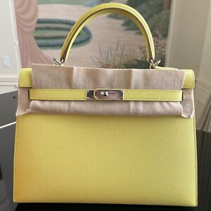 Hermes Kelly Sellier 32 Soufre Lime Yellow Epsom Leather PHW Original Receipt