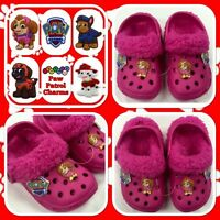 Childrens Girls Pink Paw Patrol Croc Type Fur Lined Slippers Shoes - Kids Size 4