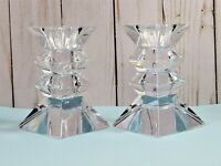 Clear Glass Tiered Taper Candle Holders Square Matching Pair 4.25 Inches High
