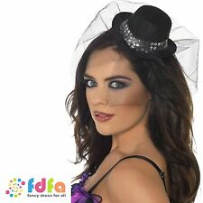 BLACK MINI TOP HAT ON HEADBAND & SEQUINS - womens ladies hen party fancy dress