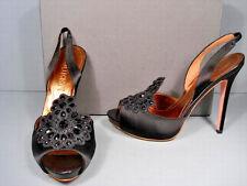 Alexander McQueen 38.5 Black Satin Crystal Platform Peep Toe Sandals Pumps NEW