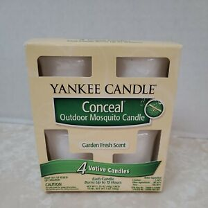 Yankee Candle Conceal Outdoor Mosquito Candle 4 Votive Garden Fresh Scent YC