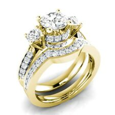 Women Fashion Jewelry Yellow Gold White Sapphire Wedding Ring Set Gift Size 6-10