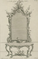 Thomas Chippendale - 18th Century Engraving, Pier Glass Table Design