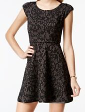 Emerald Sundae Juniors' Textured Pattern Fit-and-Flare Dress, Black/Charcoal, 7