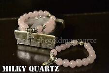 Elegant Milky Quartz Rosary Bracelet