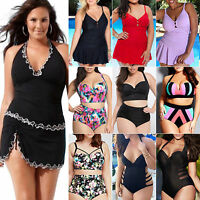 Plus Size Women Push-up Swimwear Swim Dress High Waist Bikini Set Beach Swimsuit