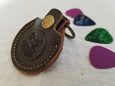 Leather Keychain Guitar Pick Holder in DARK BROWN!! FAST USA SHIPPING!!