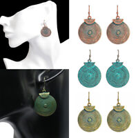 BOHO STYLE Retro Ornate Drop EARRINGS Round Hoop Disc Alloy Bronze Patina Color