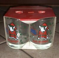VTG Bud Light Spuds MacKenzie Libby 14oz Crystal Tumblers Christmas Lot Of 4 NEW