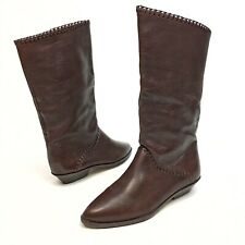 Vintage Connie Womens 6B Boots Brown Leather Angled 80's 90's Riding Western EUC