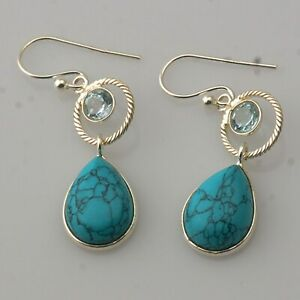Birthday Gift For Her Turquoise Blue Topaz Dangle Earrings Silver Jewelry