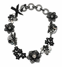 BETSEY JOHNSON 'Blackout' Black Floral Bug Pave Skull Cluster Collar Necklace