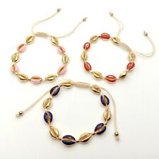 3 colors Gold Enamel Mixed Color Cowrie Shell Bracelets Shell Charm Summer Beach