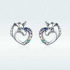 Voroco S925 Sterling Silver Horse Earrings Charm CZ For Beauty Women Jewelry