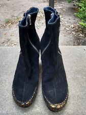 Chic, sexy Martina & Peter K boots - black suede + bronze metallic- zipper 8 M
