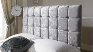 """Crushed Velvet Cube Bed Headboard Buttoned Fabric Headboard with Height 26"""""""