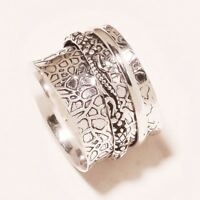 925 Sterling Silver Wide Band Spinner Ring Statement Meditation Jewelry ss176