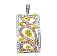 Real 2.13ct Natural Fancy Pink Diamonds Yellow Pendant Necklace 18K Rose Gold