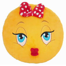 Girl with Bow Emoticon Emoji Pillow Emoticon Cushion Soft Smiley 32cm NEW