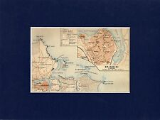 Antique matted map Brindisi Apulia Italy 1929 / mappa,karte