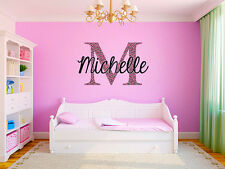 "Pink Cheetah Monogram Name Girls Room Vinyl Wall Decal Graphics 15"" Tall Bedroom"