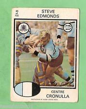1975 CRONULLA SHARKS  SCANLENS RUGBY LEAGUE CARD  #65. STEVE EDMONDS