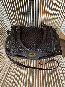 $325 Cuir Rose Italian Made BLACK Woven Leather Satchel Handbag Crossbody
