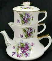 Lefton China Stacking Teapot Set Creamer Sugar Dish Violet Chintz? Pink Rose