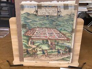 """C. 1572 Georg Braun & Frans Hogenberg Map-View Of Cusco, Peru Rare 11.25 x 9.5"""""""