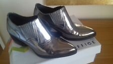 Ladies Pewter Metallic Leather Office Shoe / Boots Size 5