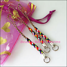 6Pcs Colored Mobile Nylon Strap Lariat Lanyard Cell Phone Cords Hang Rope 80mm
