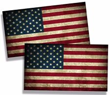 "TWO Rustic American USA Flag Sticker Vinyl Decal Old Glory Merica America 4""x2"""