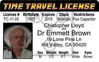 Doc Emmett Brown ID Card Drivers License Christopher Lloyd BACK TO THE FUTURE