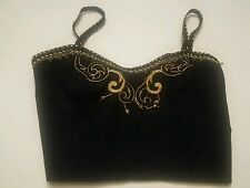 000 Sexy Top Belly Dancer Style Halter Top Black W/Gold Emblishments - Size 12