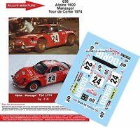 DECALS 1/18 REF 636 ALPINE RENAULT A110 MANZAGOL RALLYE TOUR DE CORSE 1974 RALLY
