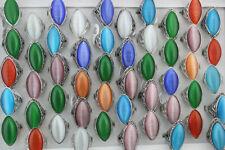 Wholesale Lots 40pcs Mixed Women Jewelry Oversize Colorful Cat's-eye Stone Rings