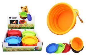 2PK Collapsible Portable Foldable Silicone Dog Pet Bowl Food Water Dish Feeder