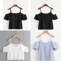 Fashion Women Summer Short Sleeve Blouse Ladies Cold Shoulder V Neck Top T-Shirt