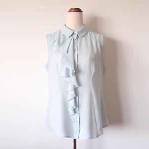 CUE Pale Blue Sleeveless Button Up Shirt Top Blouse Ruffle Chiffon Size 12 M