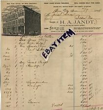 1894 BILLHEAD Sioux City Iowa H. A. JANDT & TOMPKINS Dry Goods Store New York NY
