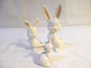 Lot Of 3 Ceramic White Rabbit Figurines