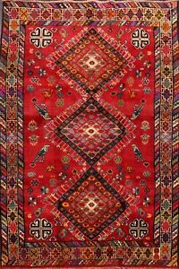Vintage Nomad Hand-Knotted Abadeh Geometric Area Rug Tribal Oriental Carpet 5x8