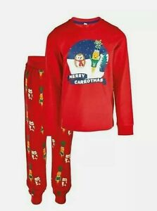 Aldi 2020 Kevin the Carrot Kids Christmas Pyjamas,  Size 2 - 3 years Red